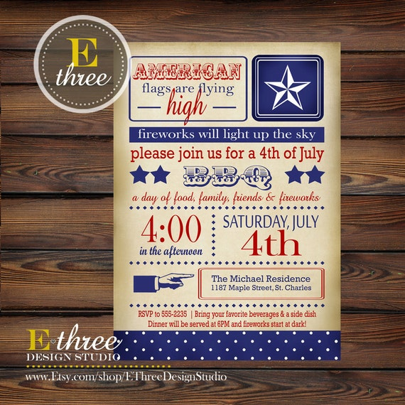 Items Similar To Printable 4th Of July Party Invitation