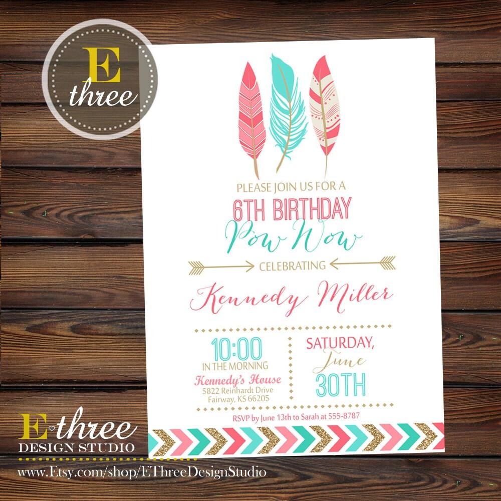 Printable Girl's Birthday Invitation Indian Tribal