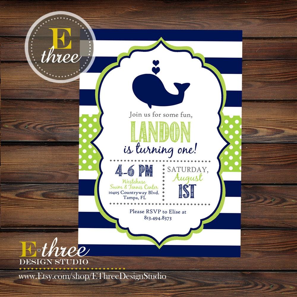 Whale Birthday Party Invitation Boy\'s Whale 1st Birthday