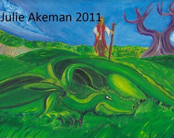 Green Dragon Original Oil Painting