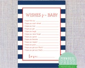 Print Your Own Baby Wish Cards - Navy & Red - Stripes - Baby Book Keepsake - Baby Shower Game