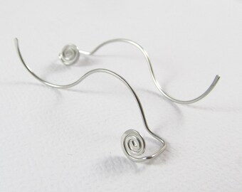 Spiral Stainless Steel Long Back Stud Earrings. Curved Back Earrings. Hammered Swirl Studs. Hand Formed. Wire Earrings. Extra Thin. 3107