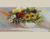 ORIGINAL Oil on canvas Painting Palette Knife painting Flower texture painting White Green Yellow Vase Pastel Sunflowers Color ART Marchella