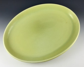 Russel Wright Iroquois Casual serving platter in early avocado yellow