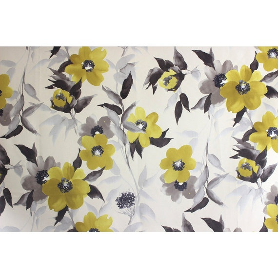 Yellow & Grey Flowers Poly Silk Printed Fabric By The Yard Curtain ...