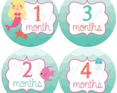 Monthly Stickers for Girls - Mermaids Under the Sea - Months 1 to 12 - Etsykids Team - Babys First Year - Months 1-12 - Milestone Stickers