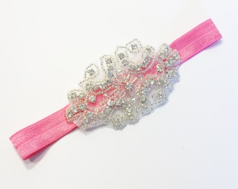 Diamond Headband - Bubblegum Pink - Statement Piece Headband - Baby Headband - Flower Girl Headband - Baby Photography - Sparkle Headband