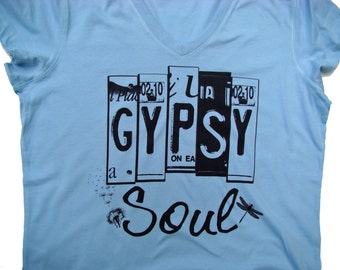 Gypsy Soul, Boho Chic shirt- Bella vneck - 4 color choices (Lt. blue, pink, white, gray)Custom printed