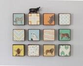 safari wall art- twelve set of 5x5 art blocks- kids room decor- modern wall art for kids geometric decor- redtilestudio