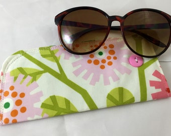 Fabric Eyeglass Case - Pink Sunglass Case - Reading Glasses Case - Pink Eyeglass Case - Glasses Case - Clementine Dandybloom in Pink