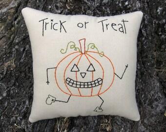Primitive Halloween Pillow, Running Pumpkin Jack, Hand Embroidered Stitchery, Original Design, unique halloween decoration, jack o lantern