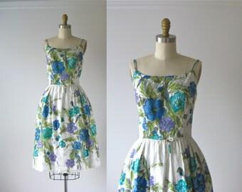 vintage 1960s sun dress /  60s dress / Parrot Garden