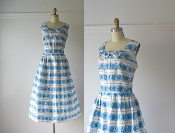 vintage 1950s dress / 50s dress / Spring Clouds