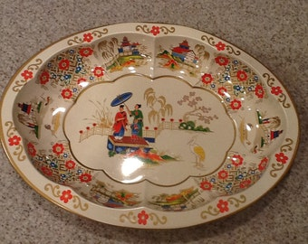Daher Decorated Ware Asian Influence Vintage Oval Bowl