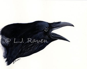 Raven III -  Original Watercolor Painting, painted by J.L. Raven - 8x6inches