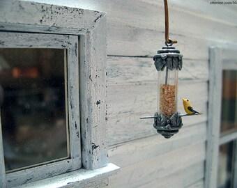 Pewter birdfeeder - dollhouse miniature - custom options available