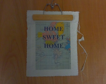Handmade Wall Quote Map with Hanger