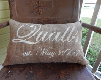 Burlap Pillow Personalized Last Family Name and Established Date Burlap Pillow Accent Pillow Custom Colors Wedding Anniversary Gift Home