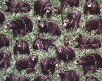 SPECIAL--Black Bears in the Wild Print Pure Cotton Fabric--One Yard