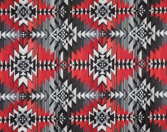 Gray and Red Southwest Blanket Print Pure Cotton Fabric--One Yard
