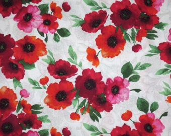 Red on Lacy Ivory Poppy Print Pure Cotton Fabric--One Yard