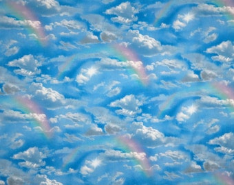 REMNANT--Clouds with Rainbows Print Pure Cotton Fabric--3/4 Yard