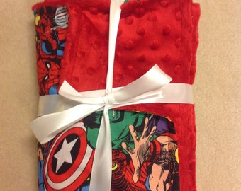 """Avengers Superhero minky fleece blanket 26""""x28"""""""