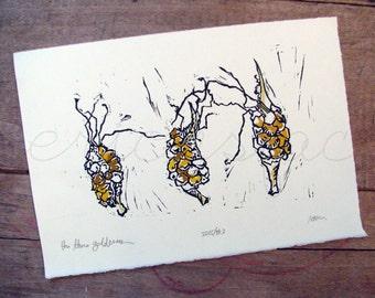 The Three Goddesses - Original Art - Hand Pressed Linoleum Cut