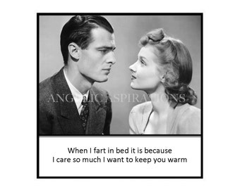 Magnet - When I fart in bed it is because I care so much I want to keep you warm - Vintage Retro Couple