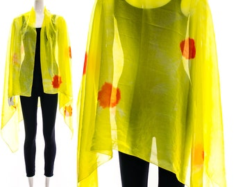 Vintage 80s Neon Bright Yellow Coral Polka Dots Scarf Shawl Wrap