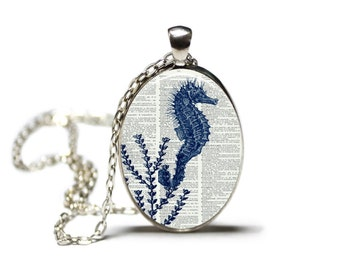 Seahorse Dictionary Jewelry Hamilton House Prints Original Print Necklace Dictionary Prints Dictionary Necklace Seahorse  Necklace