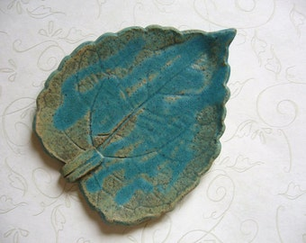 Rustic Turquoise Pottery Leaf Spoon Rest