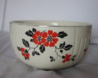 Vintage Halls red poppy serving bowl heavy pottery with gold rim