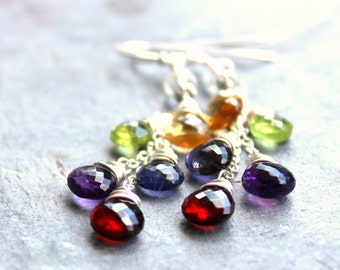 Multi Gemstone Earrings Mixed Stone Cascade Sterling Silver Garnet Amethyst Peridot Iolite