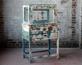 Reclaimed Turquoise Blue Boho Chic Storage Jewelry Display Boutique Cabinet Distressed Vintage Elements