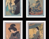 4 Blank Note Cards of Japanese Women by Shinsui gccs017
