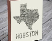 Houston Map - Houston Art - Houston Texas - Wood Block Art Print