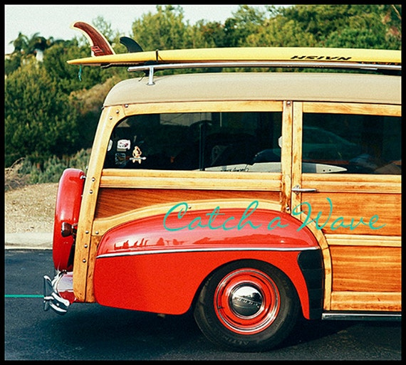 "Art, Photography, Coastal Home Decor, Beach Photography, Vintage Car Photography, Woody Car Print, Surfing Image, ""Catch A Wave"""