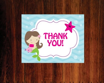Mermaid Thank You Cards - set of 15