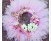 The Cosette Wreath- vintage  Gold and pink shabby chic tutu tulle wreath- announcement-hospital-nursery wreath