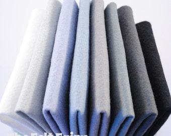 "Monochrome 6"", 9"" OR 12"" Squares 10 Sheets - Wool Blend Felt"