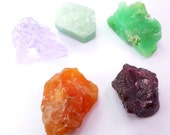 Rough Gemstone & Mineral Set. Can Be Drilled.  Materials, Natural Forms, Mixed Shapes, Rainbow Colors. Gem 5 pc. 40 gm. 20-25mm ML100