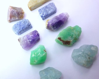 Rough Gemstone & Mineral Set. Rough Materials, Natural Forms, Mixed Shapes, Rainbow Colors. Can Be Drilled. 5 pc. 60 gm. 27-43 mm ML130