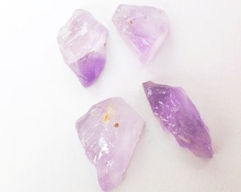 AMETHYST. Natural. Large. Rough Gems. Mineral Crystals. Flat Back for EZ Setting. 4 pc. 40 cts. 9x21 to 15x20 mm  (AM1283)
