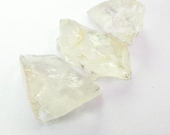 QUARTZ. Natural. Clear Quartz. Large. Rough Gems. Mineral Crystals. Flat Back for EZ Setting. 3 pc. 76 cts. 21 to 31 mm  (QTZ347)