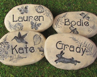 "Personalized Grandchildren names carved into ""stone."" Yard art, family signs. Nature inspired garden decor. Custom grandmother gift"