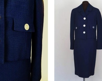 Vintage 60's Women's Navy Blue Suit Jacket Skirt Textured Boxy Size S / M Two Piece