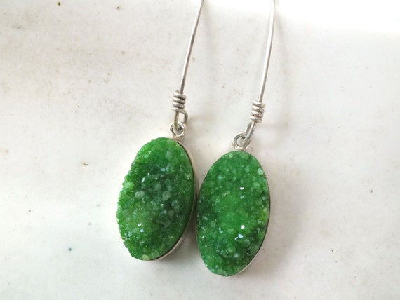 Bright Green Druzy Sterling Silver Drop Earrings