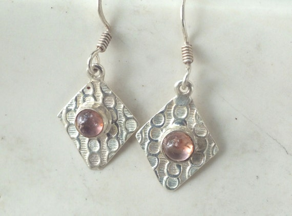 Pink Tourmaline  and Sterling Silver Patterned Drop Earrings