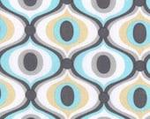 Cotton, Fabric, Michael Miller, Aqua, Gold, Grey, White, Quatrefoil, Geometric, Lattice, Tile,  Sold By The Yard